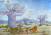 Baobab Paintings - Lions by the Baobab by Joseph Thiongo
