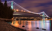 Burrard Inlet Photo Prints - Lions Gate Bridge at Night Print by James Wheeler