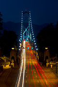 Lights Of Vancouver Posters - Lions Gate Bridge Traffic Poster by Michael Russell