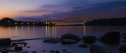 Lions Gate Bridge Prints - Lions Gate Sunrise Print by Chris Scharf