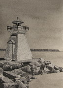 Bruce Drawings Originals - Lions Head Light by Michelle Hogan