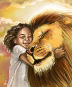 Victory Digital Art Posters - Lions Kiss Poster by Cindy Elsharouni