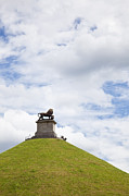 Battlefield Site Prints - Lions Mound memorial to the Battle of Waterlooat Waterloo Belgium Europe Print by Jon Boyes