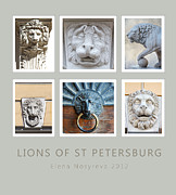 Animals Tapestries Textiles - Lions of St Petersburg by Elena Nosyreva