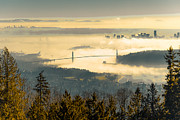 Lions Gate Bridge Framed Prints - Lions sea fog Framed Print by Lee Buckley