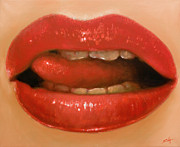 Pastel Chalk Prints - Lips II Print by John Silver