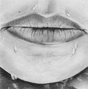 Chin Up Drawings Prints - Lips Print by Kimmo Matias