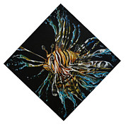 Lionfish Paintings - Liquid Lion by Marco Antonio Aguilar