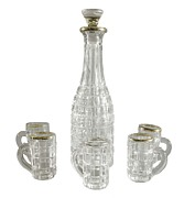 Wines Photos - Liquor Bottle And Five Handled Glasses by Everett