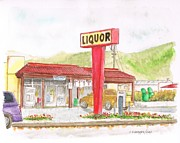Watercolors Painting Originals - Liquor store in Lompoc - California by Carlos G Groppa
