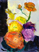 Ranunculus Paintings - Lisas Bunch by Amantha Tsaros