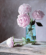 Mason Jars Painting Framed Prints - Lisas Peonies Framed Print by Christopher Lyter