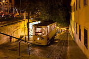 Lamp Posts Prints - Lisbon Gloria Funicular Night Shot Print by Kiril Stanchev