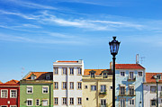 Street Lamp Framed Prints - Lisbon Houses Framed Print by Carlos Caetano