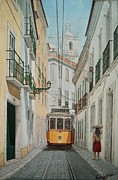 Old Tram Painting Framed Prints - Lisbon Tram Framed Print by Carlos De Vasconcelos Tavares