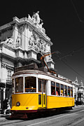 Black Commerce Framed Prints - Lisbons Typical Yellow Tram in Commerce Square Framed Print by Jose Elias - Sofia Pereira