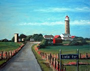 Red-roofed Buildings Prints - Lista fyr lighthouse Print by Janet King