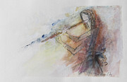 Images Paintings - LISTEN fourteen - The Flute by Patricia Riascos