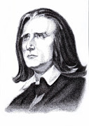 Pen And Ink Drawing Painting Metal Prints - Liszt Metal Print by Qiang Ben