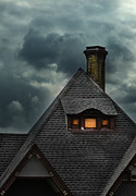 Haunted House Art - Lit Attic Window by Jill Battaglia