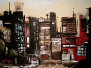 City Buildings Mixed Media Prints - Lit Velvet and Burnt Orange Print by Sharlena Wood
