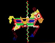 Horse Toys Framed Prints - Lite Brite - The Carousel Pony Framed Print by Benjamin Yeager