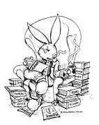 Bunny Drawings Prints - Literary Playboy Print by John Ashton Golden