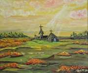 Sun Rays Painting Prints - Little Abbey in the Meadow Print by Tricia Concienne