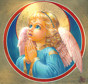 Religious Digital Art Prints - Little Angel Print by Zorina Baldescu