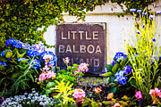 Plaque Photo Prints - Little Balboa Island Sign in Newport Beach California Print by Paul Velgos