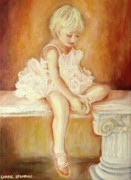 Faces Paintings - Little Ballerina by Carole Spandau