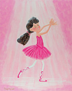 Child Ballerinas Prints - Little Ballerina Dreams Print by Cheryl Hymes