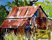 Old Barn Paintings - Little Barn Two by Esther Woods