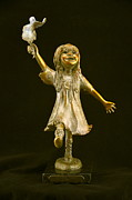 Bronze Sculptures - Little Bear Dancer by Barb Maul