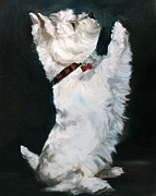 Westie Dog Paintings - Little Beggar by Hanging The Moon