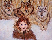 Portrait With Mountain Framed Prints - Little Bernard and The Wolves Framed Print by The Art With A Heart By Charlotte Phillips