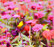 Canary Metal Prints - Little Birdie in the Spring Metal Print by Bill Cannon
