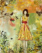 Folk Prints Prints - Little Birdie Inspirational mixed media folk art by Janelle Nichol Print by Janelle Nichol