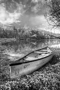 Canoes Photo Framed Prints - Little Bit of Heaven Black and White Framed Print by Debra and Dave Vanderlaan