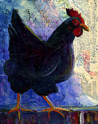 One Animal Painting Posters - Little Black Hen Poster by Kerrie  Hubbard