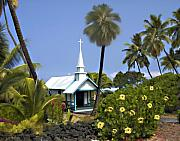 Wedding Chapel Posters - Little blue church Kona Poster by Kurt Van Wagner