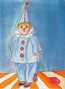 Sad Pastels Posters - Little Blue Clown Poster by Arlene Crafton