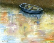 Vicky Watkins Acrylic Prints - Little Blue Dinghy Acrylic Print by Vicky Watkins