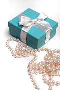 Necklace Posters - Little Blue Gift Box and Pearls Poster by Amy Cicconi