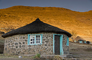Africa Art - Little Blue House by Aaron S Bedell