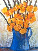 Original Oil Pastels - Little Blue Jug by Sherry Harradence