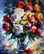 Roses Framed Prints - Little Bouquet Framed Print by Leonid Afremov