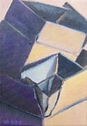 Boxes Paintings - Little Boxes-Yellow and Violet by Vera  Smith