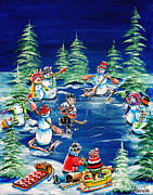 Pond Hockey Paintings - Little Boy Dreams by Jill Alexander