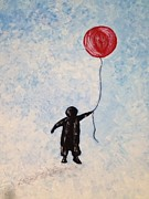 Cloudy Day Drawings - Little Boy with the Big Red Balloon by Evelyn LUM